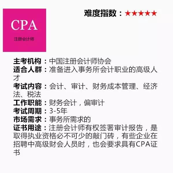 第二类:执业资格证书CPA