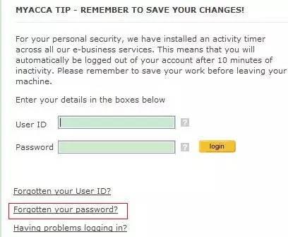 请点击忘记密码按钮