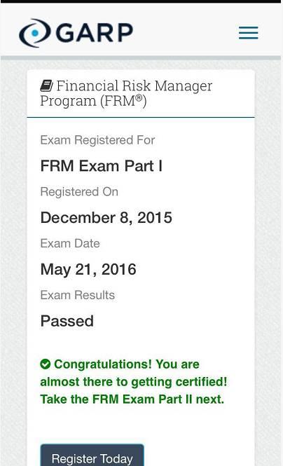2016年5月FRM考试成绩今日正式公布6
