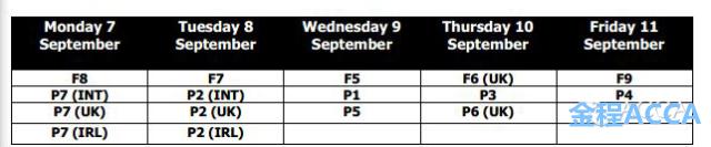 9月考试时间表