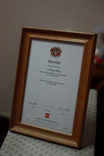 ACCA会员荣誉证书