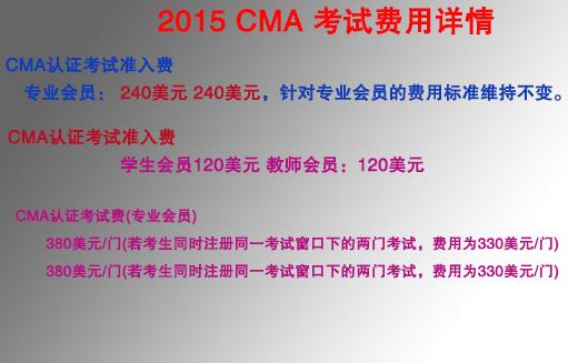 CMA考试费用详情图