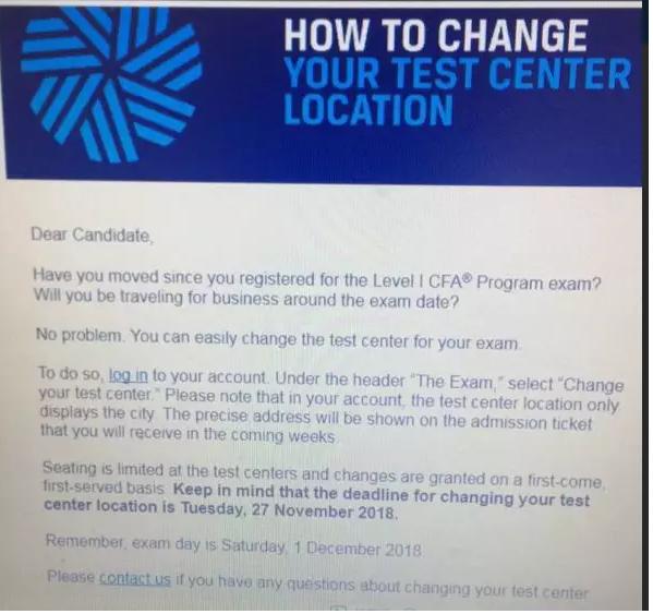 CFA报名考生如何更改CFA考点