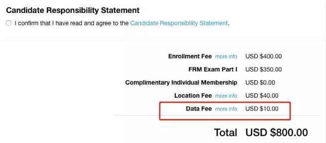 FRM新考生报名,要多交10美元的Data Fee