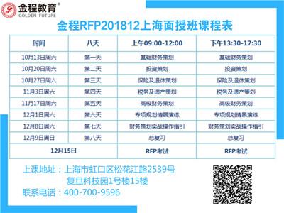 金程RFP201812上海面授班
