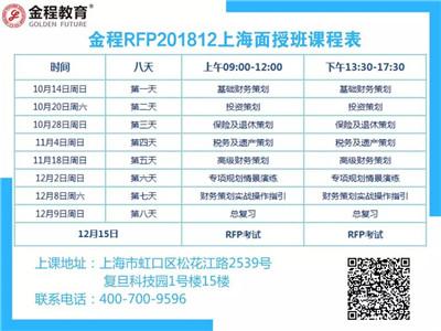 金程RFP上海面授班課程表
